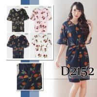d2152 baju dress gaun midi skirt bunga casual wanita