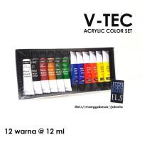 V-TEC Acrylic Set 12 Warna 12 ml Tube ( Cat Akrilik )