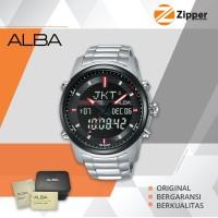 Alba Patterned AZ4045X1 Dial St. Steel Digital Analog Jam Tangan Pria
