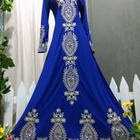 Baju pesta lebaran gaun india maxi dress gamis jodha abaya biru benhur