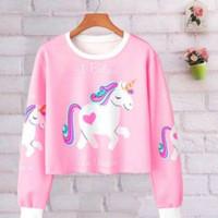 DaveFashion - Sweater i Belive Unicorn Crop Pink