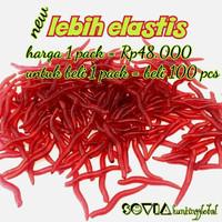 Umpan Pancing Cacing Soft Bait Lures Worm Silikon Merah / Red