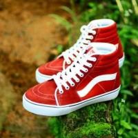 sepatu sneakers untuk anak vans old skool high red list white