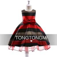 Dress Warna Merah Hitam Gaun Pesta Anak Bahan Satin Impor Lapis Furing