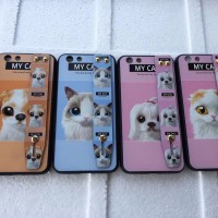 Motif Case CAT dan DOG Plus Standing SAMSUNG A8 PLUS 2018