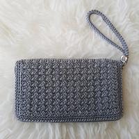 Dompet Rajut Handmade Crochet Clutch Gray