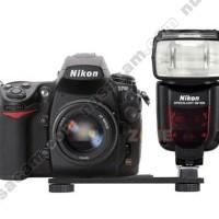 Double Dual Camera Flash Hot Shoe Mount Bracket Holder Plate