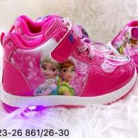 New Sepatu Sneaker Frozen Lampu Led 861 Anak Cewek Import Termurah
