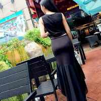 EXCLUSIVE dress korea pesta setelan blouse chiffon rok ekor import TER