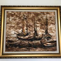 Lukisan Kapal by Moses (Original) Surabaya Free Ongkir - Home & Living