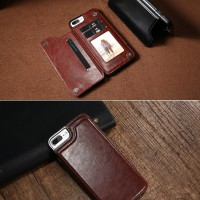 iPhone 7 Plus  Premium Wallet Cover Flip Leather Case Dompet Hp import