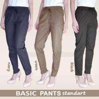 Basic Pants Ukuran Standar, Celana Beige Wanita Bahan Katun Stretch