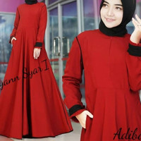 Merah pink kuning abu hitam baju dress maxi terusan polos wanita