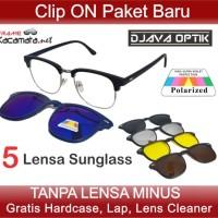 Frame Kacamata Minus Baca Clip On 5 Lensa Sunglas Hitam Pria Wanita e7a974c21a