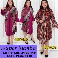 Jual 437 Dress Batik Super Jumbo Bigsize Baju Atasan Wanita Big Size vol10 Murah