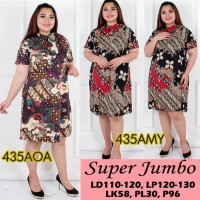 Jual 435 Dress Batik Super Jumbo Bigsize Baju Atasan Wanita Big Size vol 9 Murah