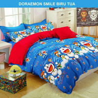 Bed cover set katun lokal halus Doraemon Smile Size 160x200/180x200
