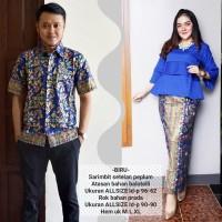 baju couple batik buat kondangan acara resepsi warna biru BSG606