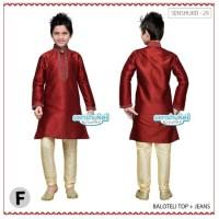 Baju Koko Warna Merah Marun Busana Muslim Ala India Anak Cowo Branded