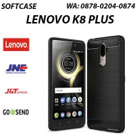 Soft Silicon Case Brushed Carbon Fiber Texture Lenovo K8 Plus Black