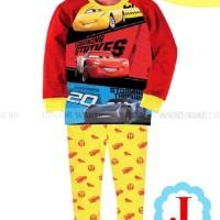 Baju Tidur Piyama Anak Cowok Laki JW 54 Kaos Cars McQueen Merah