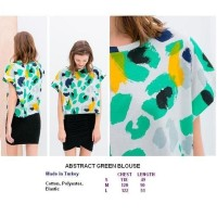 ABSTRACT GREEN BLOUSE. Made in Turkey - FACTORY OUTLET BRANDED