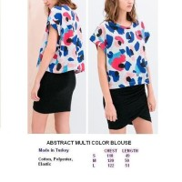 ABSTRACT MULTI COLOR BLOUSE. Made in Turkey - FACTORY OUTLET BRANDED