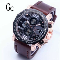 Jam Tangan Pria GC Date Crono Aktif Dark Brown Rose Gold Angka White
