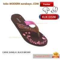 NO 39 CARVIL SHAKILA L BLACK BROWN sandal wanita jepit flat casual