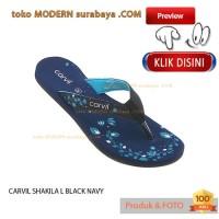 NO 36 CARVIL SHAKILA L BLACK NAVY sandal wanita jepit flat casual