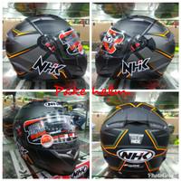 HELM NHK RX9 HAWK BLACK ORANGE DOFF FULL FACE