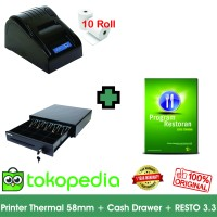 Paket Komputer Kasir Resto Murah 02| Software | Printer | Laci