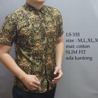 Jual Baju kemeja kantor Pria Cowok Batik lengan pendek panjang slim fit Murah
