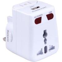 Travel Adaptor Universal EU AU UK US Plug dengan Port USB - White