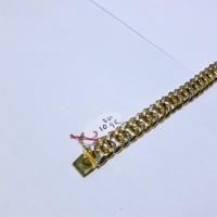 ORIGINAL Gelang rantai emas kuning kombinasi putih model sisik naga