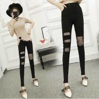 JES-PS1248 ripped pants celana panjang skinny robek-celana high waist