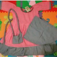 Gamis / Setelan Gamis / Baju Muslim Anak dengan Hijab dan Tas
