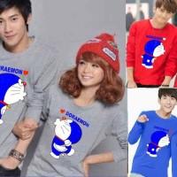 LP Kiss Doraemon / baju couple lengan panjang / kaos couple  / grosira