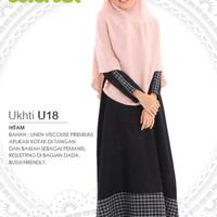 Ukhti U18 Gamis Syar'i Linen Viscouse Premium Warna Hitam Busui