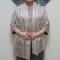 Selendang Sutra Salur Batik 100x190 Krem / Syal / Scarf