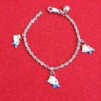 Gelang Perhiasan Anak Perak/Silver Cap 925 Lapis Emas Putih Murah