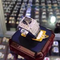Cincin Emas Black Diamond Berlian Hitam Eropa Asli Murah Pria/Wanita