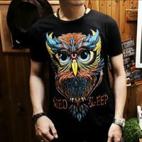 Kaos Pria Distro Black Owl Sleep/ Kaos distro