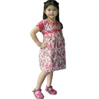 Dress Coklat Batik Anak, Baju Tidur, Ukuran L,Usia 3-4 Tahun-Dka002-01