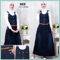 BAJU WANITA overall jeans hijab jumpsuit rok panjang kombinasi lipatan