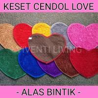 Jual KESET CENDOL LOVE / HATI DOFF ALAS BINTIK - Microfiber Dov , Anti Slip Murah