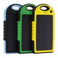 Jual Solar Waterproof Power Bank 5000mAh - Yellow with Black Side Murah