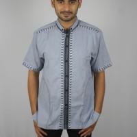 Baju Koko Murah Busana Muslim Pria Bordir Minimalis Warna Biru Hitam