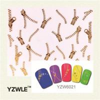 Gold Zipper Nail Art Sticker