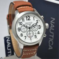Jam Tangan Pria Nautica NAI14517G Silver Leather Original Murah
